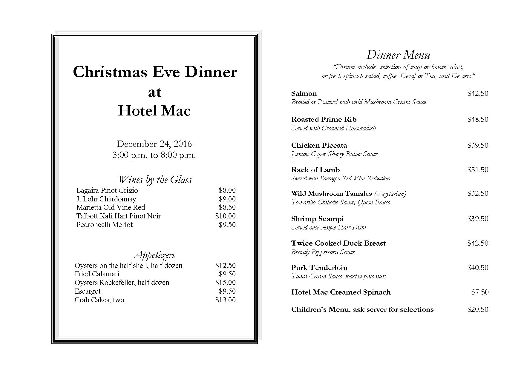 christmas dinner menu 2016 web